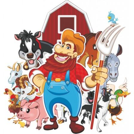 Naklejka Drukowana farmer ze zwierzętami