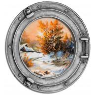 Okno - jesień, drzewa, pejzaż