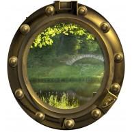 Okno - drzewa, strumyk, most