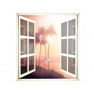 Okno - palmy, zachód słońca, morze