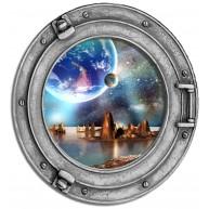 Okno - kosmos, planeta, gwiazdy, niebo