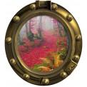 Okno - las, jesień, liście, konary
