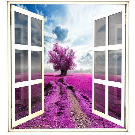 Okno -drzewko, pole lawenodowe, niebo, widok