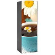 Naklejka na lodówkę - kawa ze stokrotką