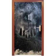 Naklejka na drzwi - mroczny zegar