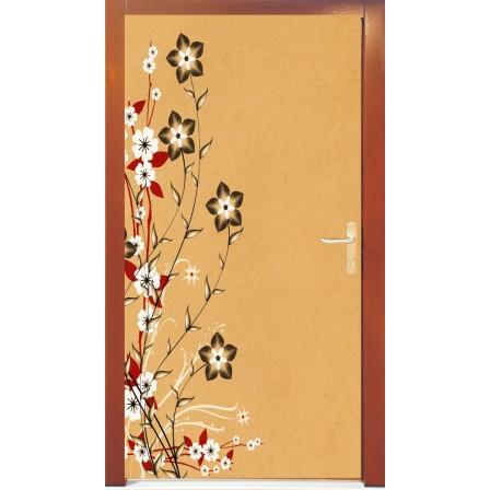 Naklejka na drzwi - rysowane kwiatki