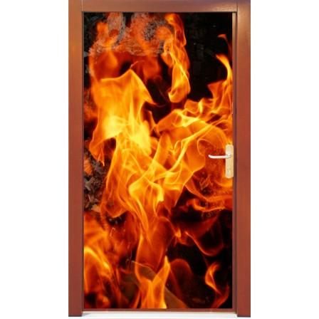 Naklejka na drzwi - ogień