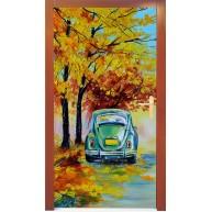 Naklejka na drzwi - samochód pod drzewem