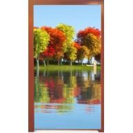 Naklejka na drzwi - kolorowe drzewa