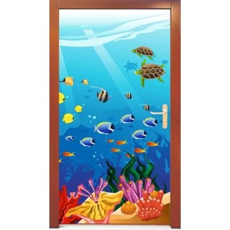 Naklejka na drzwi - podwodny świat