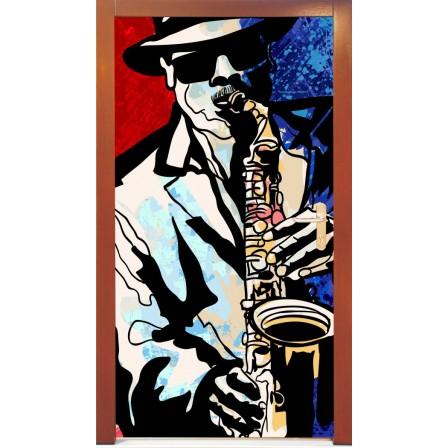 Naklejka na drzwi - mężczyzna  z saksofonem