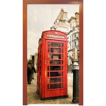 Naklejka na drzwi - budka telefoniczna