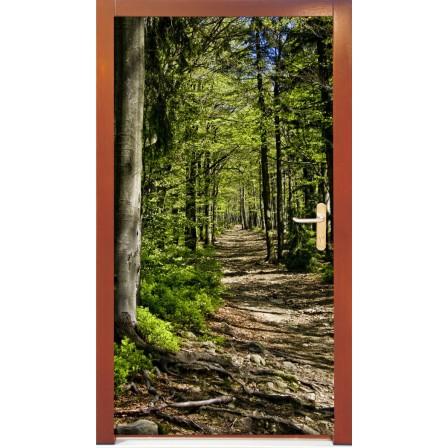 Naklejka na drzwi - droga w lesie