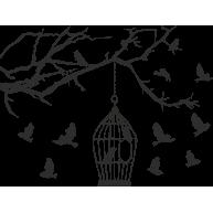 Naklejka jednokolorowa ptaszki w klatce