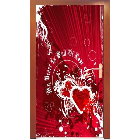 Naklejka na drzwi - serce