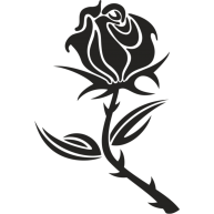 Naklejka jednokolorowa róża z kolcami