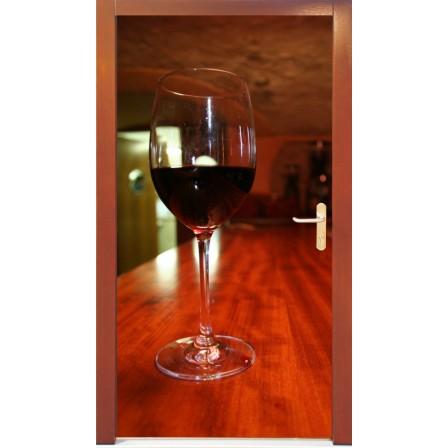 Naklejka na drzwi - lampka wina
