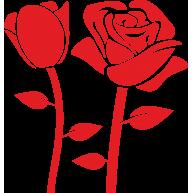 Naklejka jednokolorowa czerwone róże