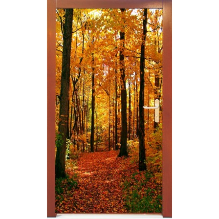 Naklejka na drzwi -  jesienny las
