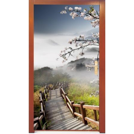 Naklejka na drzwi - drewniany most
