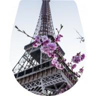 Naklejka Deska sedesowa - wieża eiflla, kwiaty