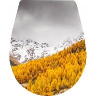 Naklejka Deska sedesowa - góry, choinki, zima