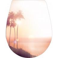 Naklejka Deska sedesowa - zachód słońca, palmy