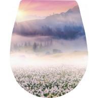 Naklejka Deska sedesowa - góry, wschód słońca, kwiatki