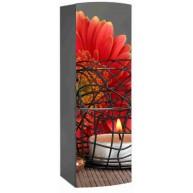 Naklejka na lodówkę - świeczka z pomarańczowym kwiatem