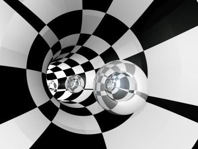 Tunel 3D szachownica czarno-biały