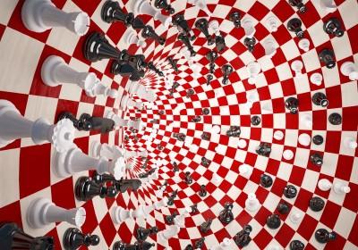 Tunel 3D szachy szachownica biało-czerwona