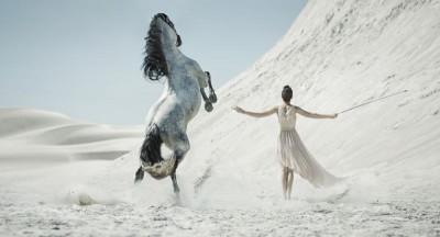 Dziewczyna koń pustynia natura zwierzęta
