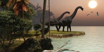 Dinozaury zachód słońca morze palmy natura zwierzęta