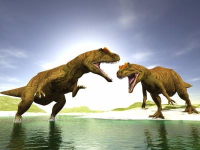 Dinozaury góry skały jezioro natura zwierzęta