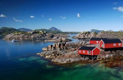 Krajobraz góry skały woda domy natura widoki