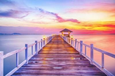 Most zachód słońca jezioro morze krajobraz natura widoki
