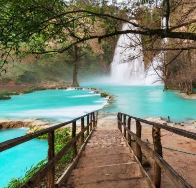 Krajobraz wodospad drzewa most widoki natura