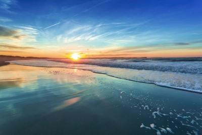 Morze plaża zachód słońca krajobraz widoki natura