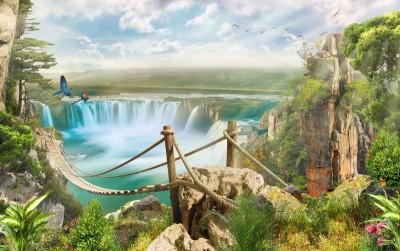 Wodospad most góry krajobraz widoki natura