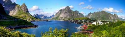 Jeziora góry domy krajobraz natura widoki