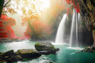 Wodospad jezioro drzewa skały krajobraz natura widoki