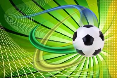 piłka nożna piłka na zielonym tle niebieskie zielone żółte pasy siatka