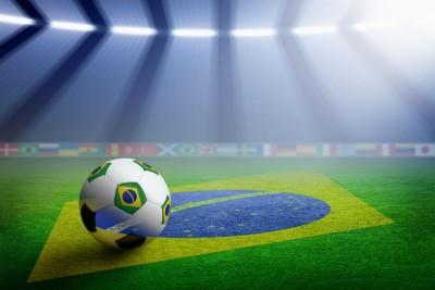 Piłka na murawie Flaga Brazylijska Brazylia piłka nożna piłka w brazylijskie flagi stadion