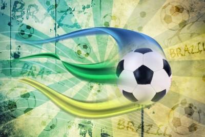 Piłka nożna Brazylia, pasy do piłki niebieski, zielony, żółty