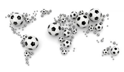 Mapa świata w formie piłek piłka nożna