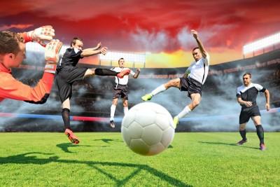 Rozgrywka piłkarska bramkarz zawodnicy piłka nożna dym czerwony biały stadion kibice