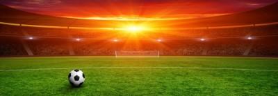 Piłka na środku boiska bramka zielona trawa zachód słońca stadion kibice