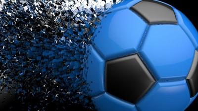 Niebiesko czarna piłka rozpadająca się piłka nożna