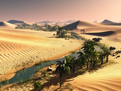 Pustynia z rzeką i palmami