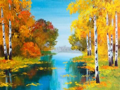 Pejzaż rzeka, brzozy, złote liście, jesień
